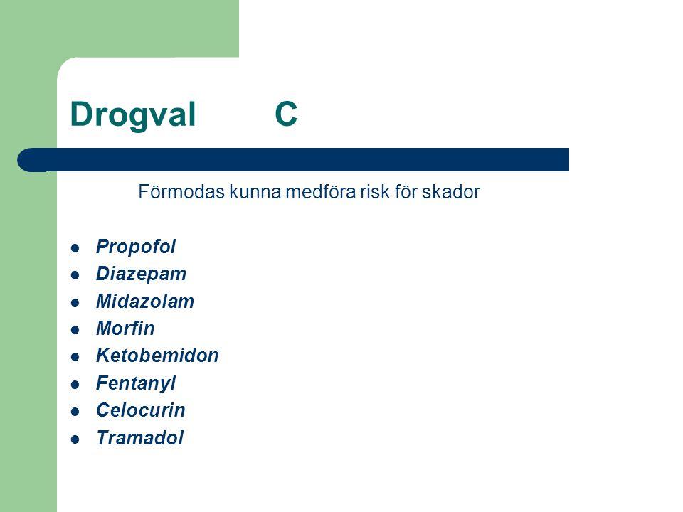 DrogvalC Förmodas kunna medföra risk för skador  Propofol  Diazepam  Midazolam  Morfin  Ketobemidon  Fentanyl  Celocurin  Tramadol