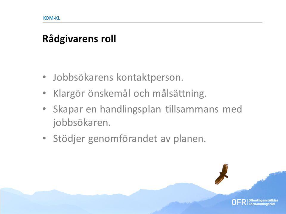 KOM-KL Rådgivarens roll • Jobbsökarens kontaktperson.