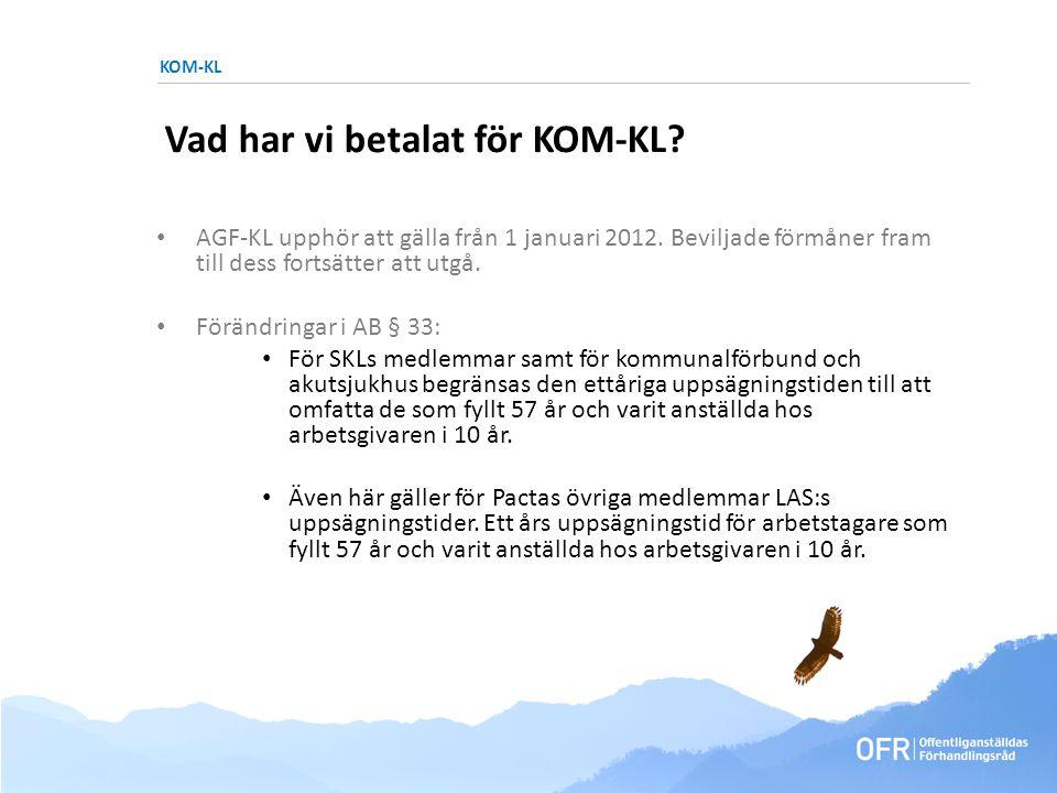 KOM-KL Vad har vi betalat för KOM-KL. • AGF-KL upphör att gälla från 1 januari 2012.