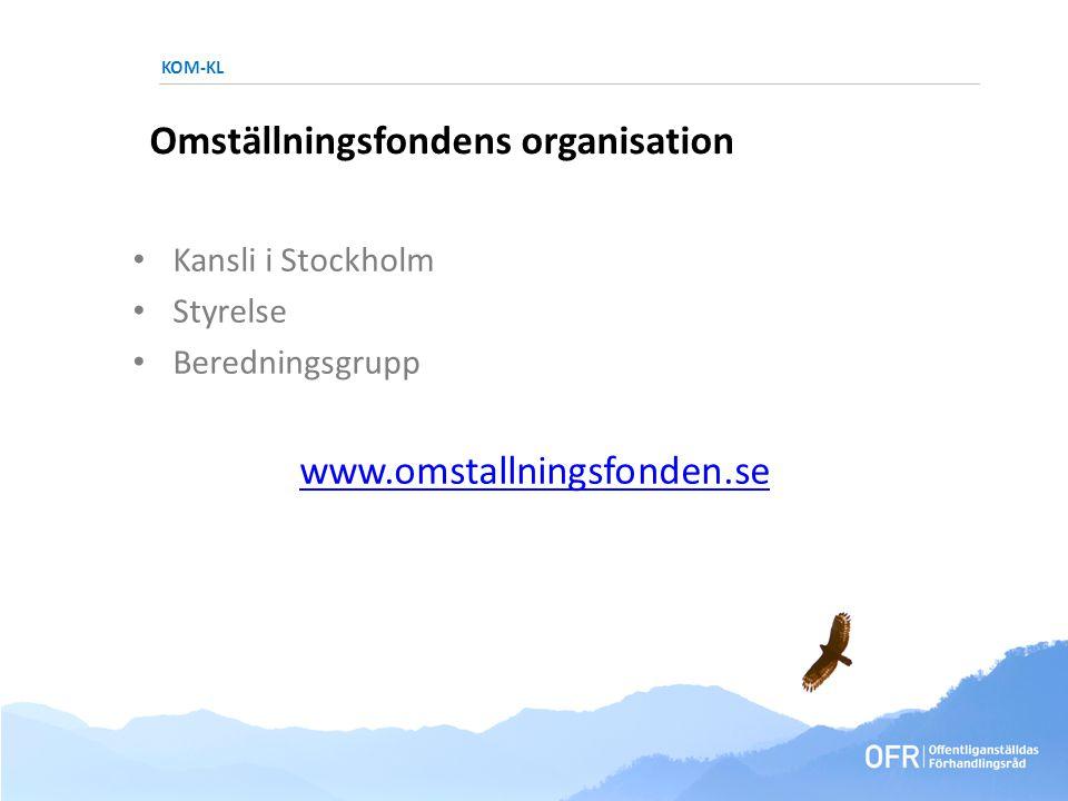KOM-KL Omställningsfondens organisation • Kansli i Stockholm • Styrelse • Beredningsgrupp www.omstallningsfonden.se