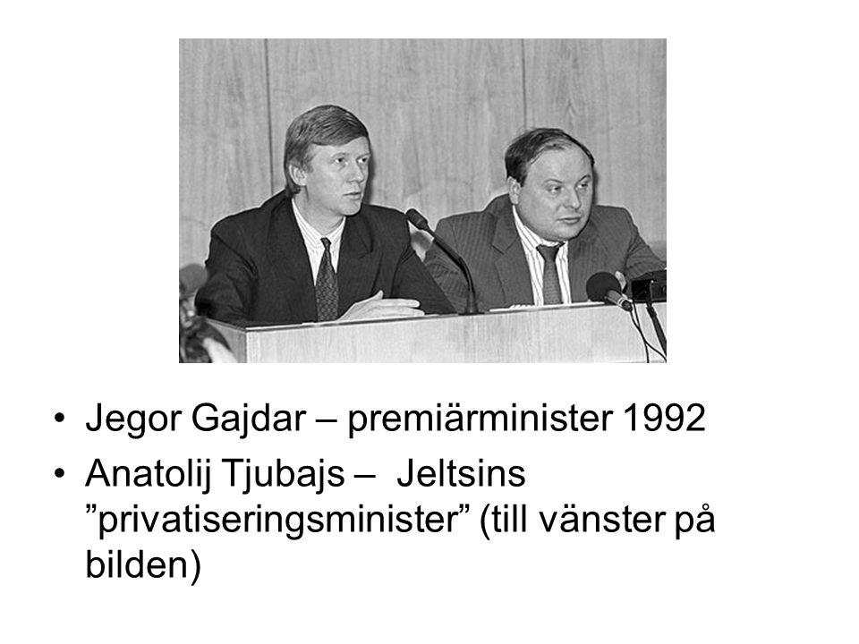 """•Jegor Gajdar – premiärminister 1992 •Anatolij Tjubajs – Jeltsins """"privatiseringsminister"""" (till vänster på bilden)"""