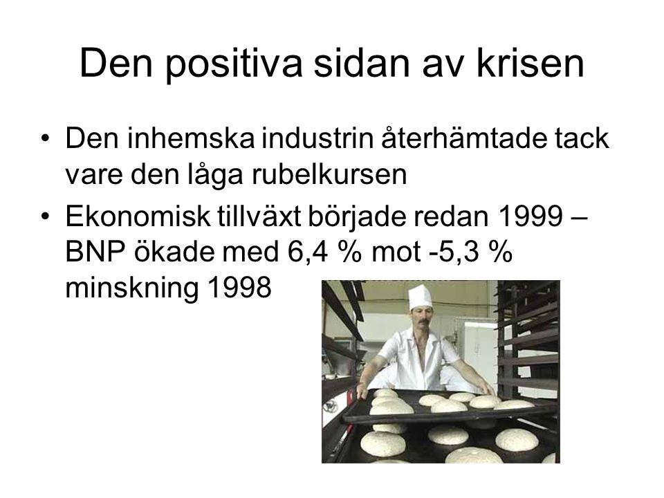 Den positiva sidan av krisen •Den inhemska industrin återhämtade tack vare den låga rubelkursen •Ekonomisk tillväxt började redan 1999 – BNP ökade med