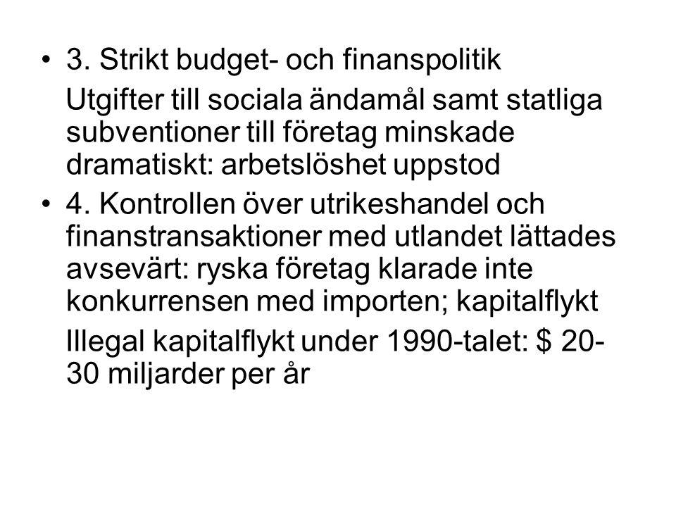 •3. Strikt budget- och finanspolitik Utgifter till sociala ändamål samt statliga subventioner till företag minskade dramatiskt: arbetslöshet uppstod •