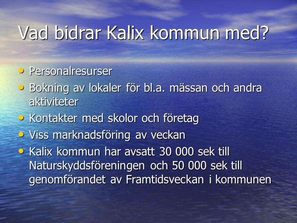 Vad bidrar Kalix kommun med? • Personalresurser • Bokning av lokaler för bl.a. mässan och andra aktiviteter • Kontakter med skolor och företag • Viss