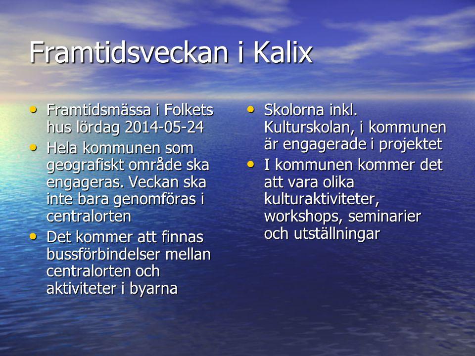 Framtidsveckan i Kalix • Framtidsmässa i Folkets hus lördag 2014-05-24 • Hela kommunen som geografiskt område ska engageras. Veckan ska inte bara geno