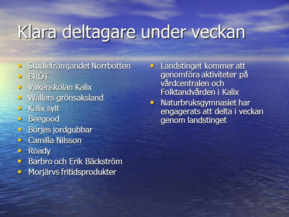 Klara deltagare under veckan • Studiefrämjandet Norrbotten • BRÖT • Vuxenskolan Kalix • Wallers grönsaksland • Kalix sylt • Beegood • Börjes jordgubba
