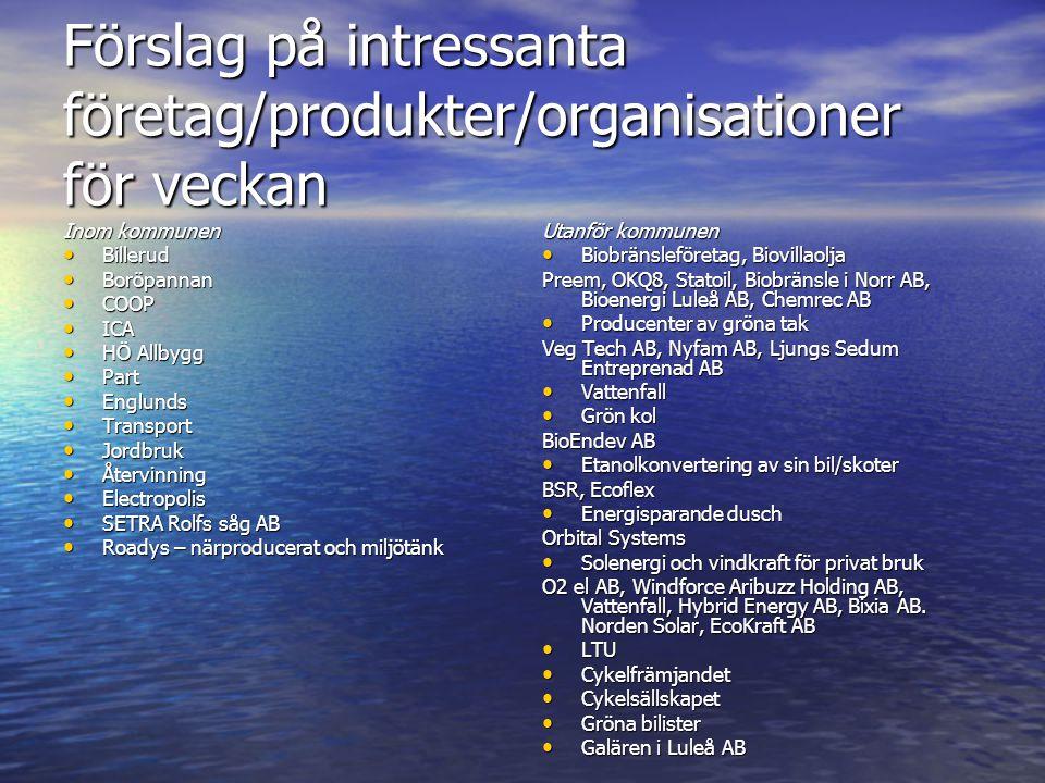 Förslag på intressanta företag/produkter/organisationer för veckan Inom kommunen • Billerud • Boröpannan • COOP • ICA • HÖ Allbygg • Part • Englunds •