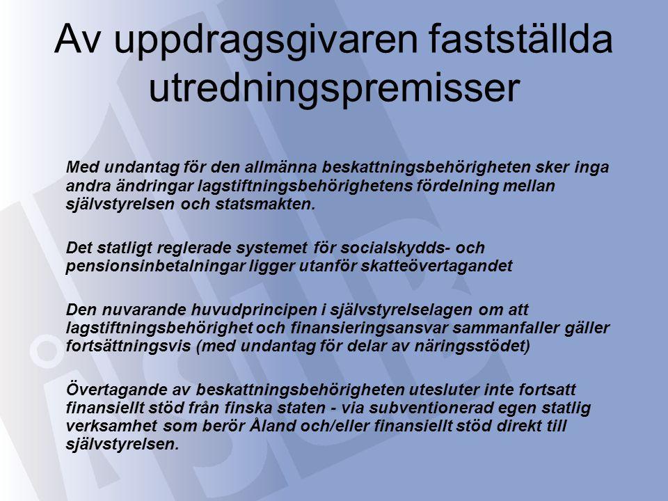 Specificering av utgångspunkterna •Skatteövertagandet gäller alla inom den åländska skattejurisdiktionens territorium (inkl.
