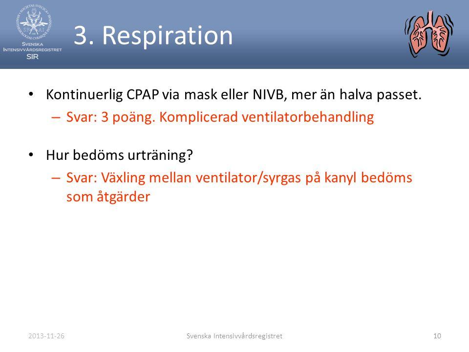 2013-11-26Svenska Intensivvårdsregistret10 3. Respiration • Kontinuerlig CPAP via mask eller NIVB, mer än halva passet. – Svar: 3 poäng. Komplicerad v