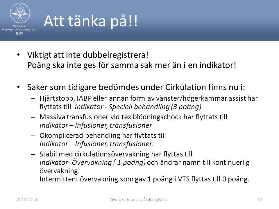 2013-11-26Svenska Intensivvårdsregistret14 Att tänka på!! • Viktigt att inte dubbelregistrera! Poäng ska inte ges för samma sak mer än i en indikator!