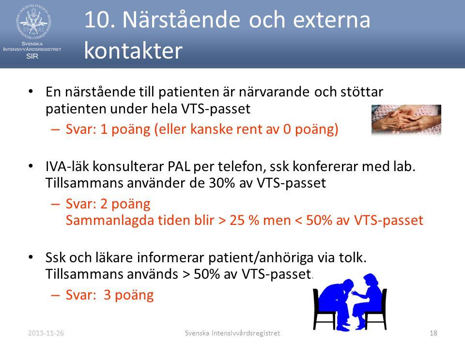 2013-11-26Svenska Intensivvårdsregistret18 10. Närstående och externa kontakter • En närstående till patienten är närvarande och stöttar patienten und