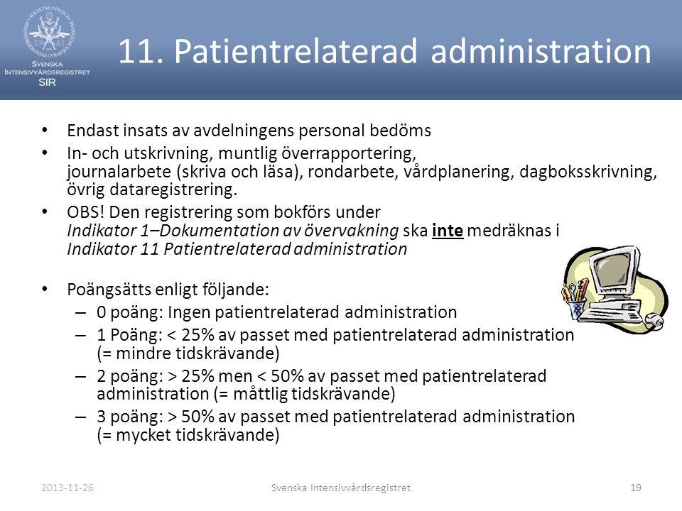 2013-11-26Svenska Intensivvårdsregistret19 11. Patientrelaterad administration • Endast insats av avdelningens personal bedöms • In- och utskrivning,