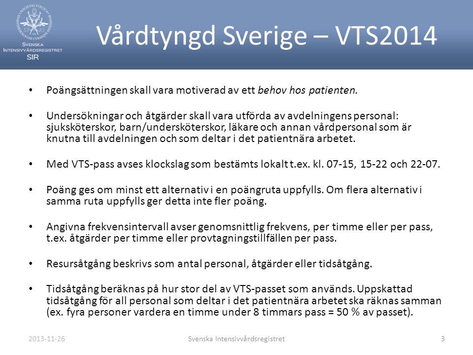 2013-11-26Svenska Intensivvårdsregistret3 Vårdtyngd Sverige – VTS2014 • Poängsättningen skall vara motiverad av ett behov hos patienten. • Undersöknin