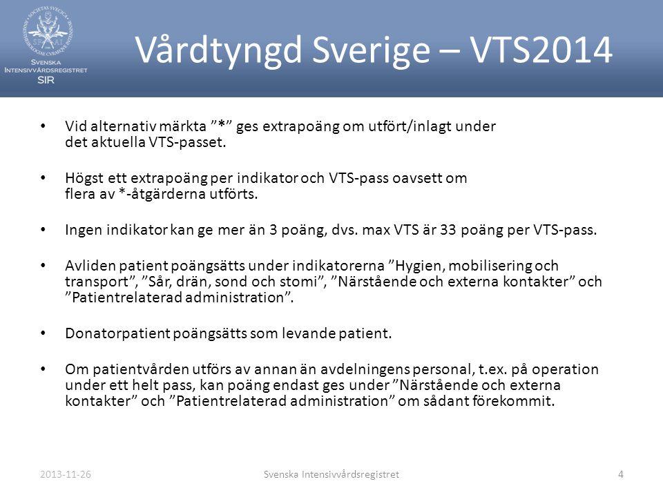 """2013-11-26Svenska Intensivvårdsregistret4 Vårdtyngd Sverige – VTS2014 • Vid alternativ märkta """"*"""" ges extrapoäng om utfört/inlagt under det aktuella V"""