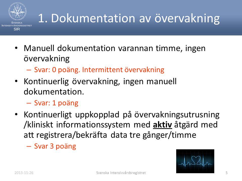 2013-11-26Svenska Intensivvårdsregistret5 1. Dokumentation av övervakning • Manuell dokumentation varannan timme, ingen övervakning – Svar: 0 poäng. I