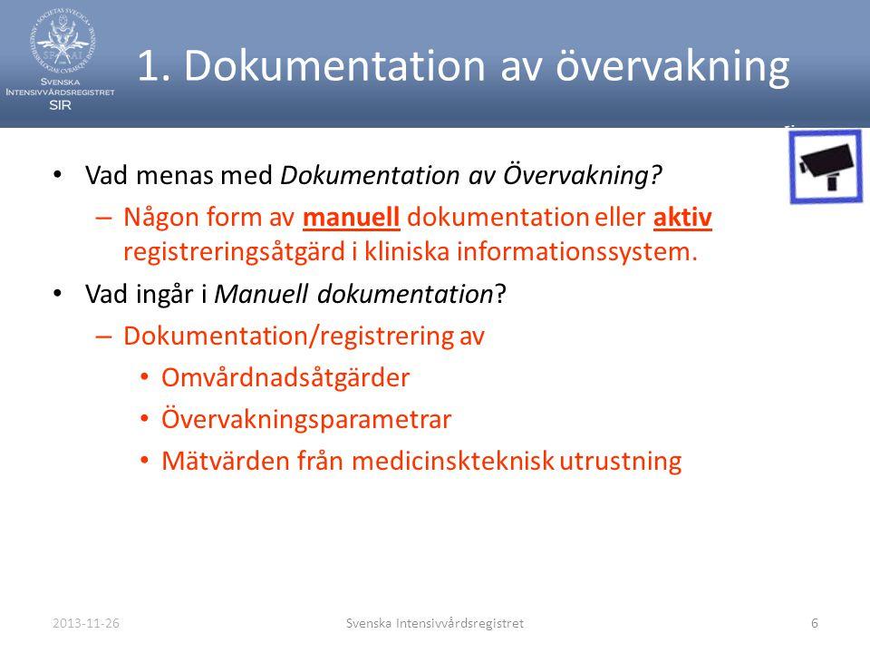 2013-11-26Svenska Intensivvårdsregistret6 1. Dokumentation av övervakning • Vad menas med Dokumentation av Övervakning? – Någon form av manuell dokume