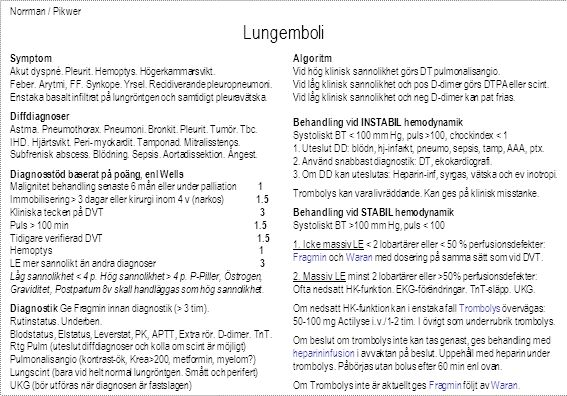 Norrman / Pikwer Lungemboli Fragmin 100 IE/kg x 2 alt 200 IE/kg x 1.