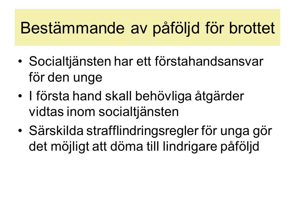 Bestämmande av påföljd för brottet •Socialtjänsten har ett förstahandsansvar för den unge •I första hand skall behövliga åtgärder vidtas inom socialtj