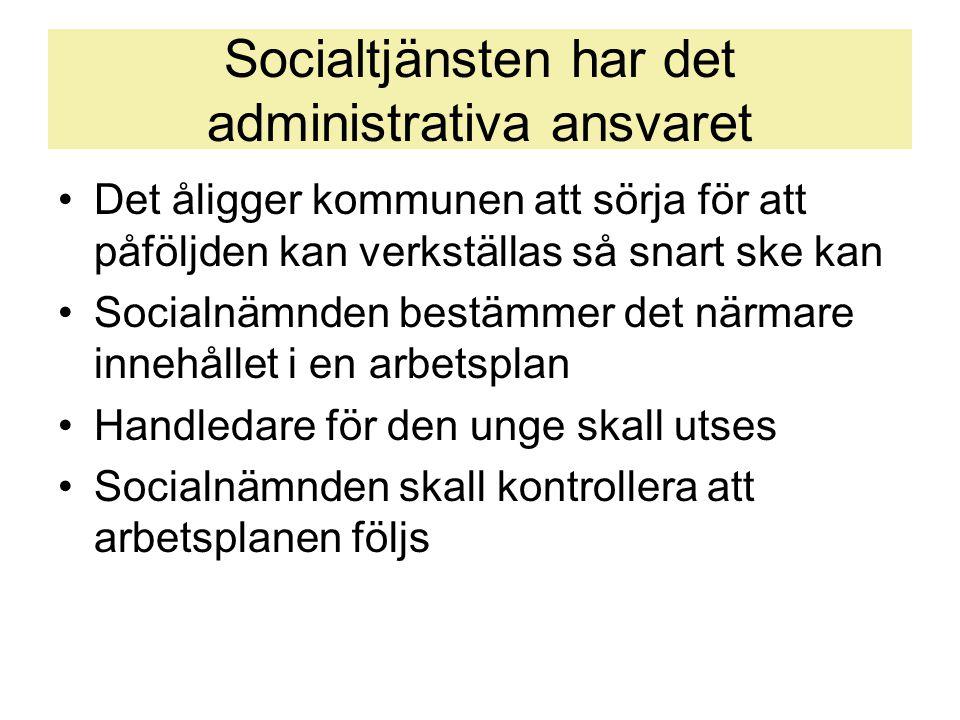 Socialtjänsten har det administrativa ansvaret •Det åligger kommunen att sörja för att påföljden kan verkställas så snart ske kan •Socialnämnden bestä