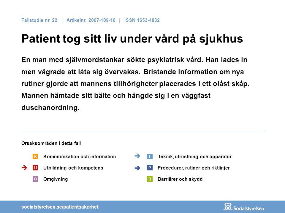 socialstyrelsen.se/patientsakerhet Fallstudie nr. 22 | Artikelnr. 2007-109-16 | ISSN 1653-4832 Patient tog sitt liv under vård på sjukhus En man med s