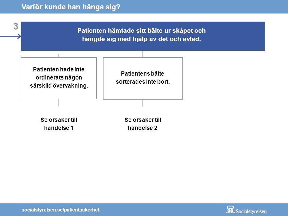 socialstyrelsen.se/patientsakerhet 3 Patienten hämtade sitt bälte ur skåpet och hängde sig med hjälp av det och avled. Patienten hade inte ordinerats