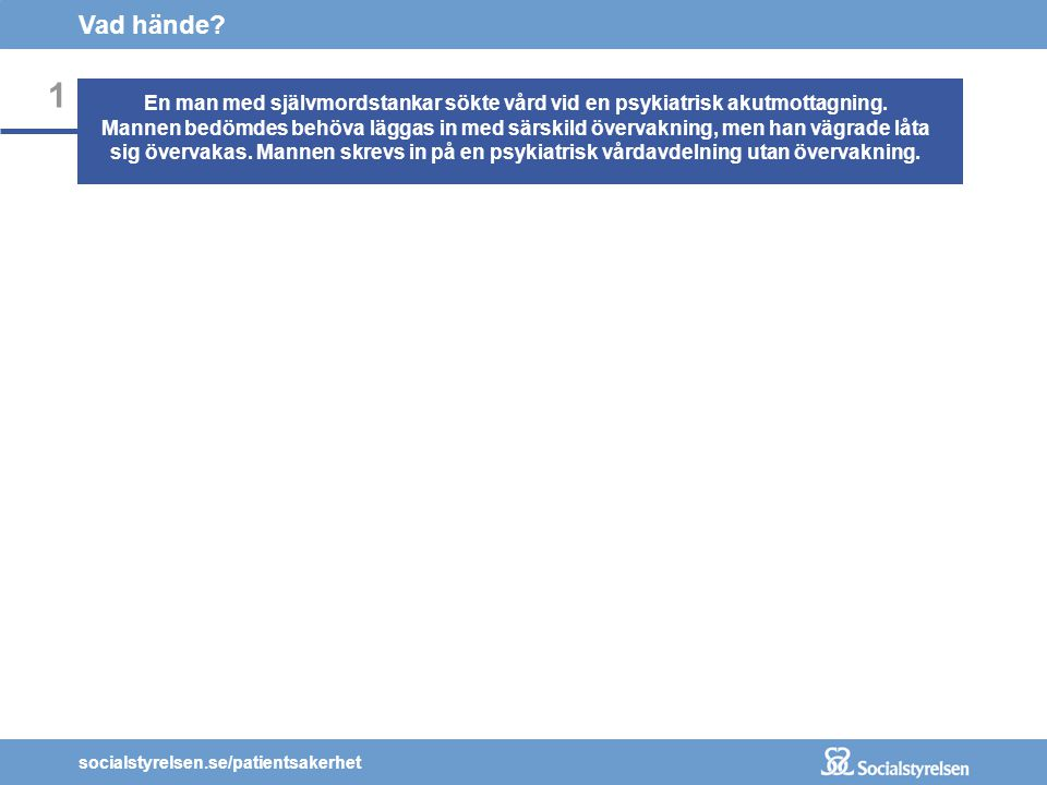 socialstyrelsen.se/patientsakerhet 1 Vad hände.