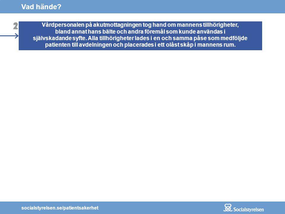 socialstyrelsen.se/patientsakerhet 2 1 En man med självmordstankar sökte vård vid en psykiatrisk akutmottagning. Mannen bedömdes behöva läggas in med