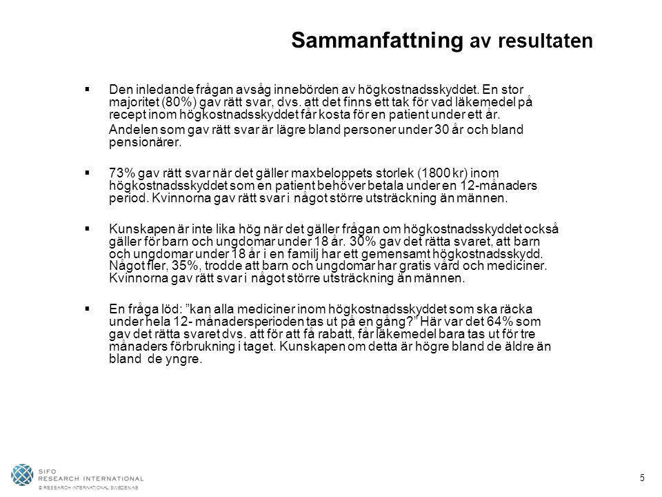 © RESEARCH INTERNATIONAL SWEDEN AB 5 Sammanfattning av resultaten  Den inledande frågan avsåg innebörden av högkostnadsskyddet. En stor majoritet (80