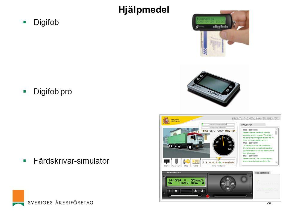 25 Hjälpmedel  Digifob  Digifob pro  Färdskrivar-simulator
