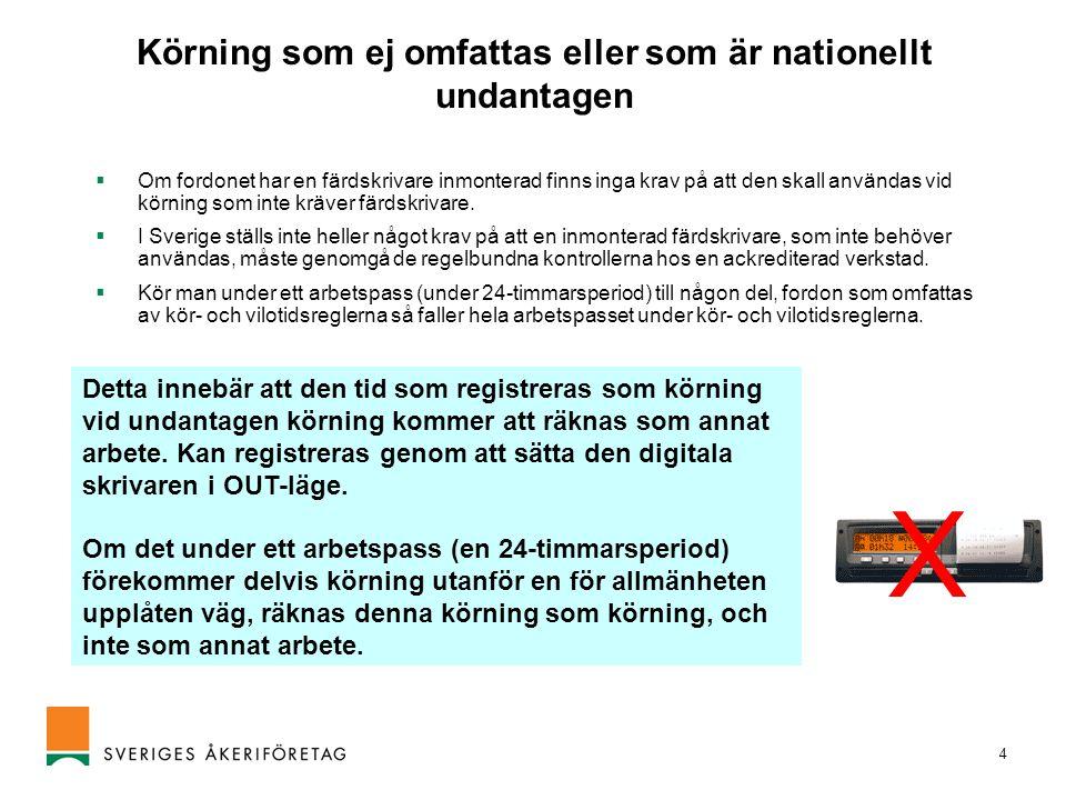 4 Körning som ej omfattas eller som är nationellt undantagen  Om fordonet har en färdskrivare inmonterad finns inga krav på att den skall användas vi