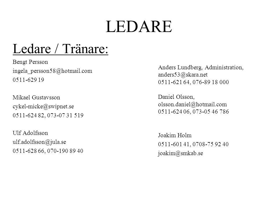 LEDARE Ledare / Tränare: Bengt Persson ingela_persson58@hotmail.com 0511-629 19 Mikael Gustavsson cykel-micke@swipnet.se 0511-624 82, 073-07 31 519 Ul