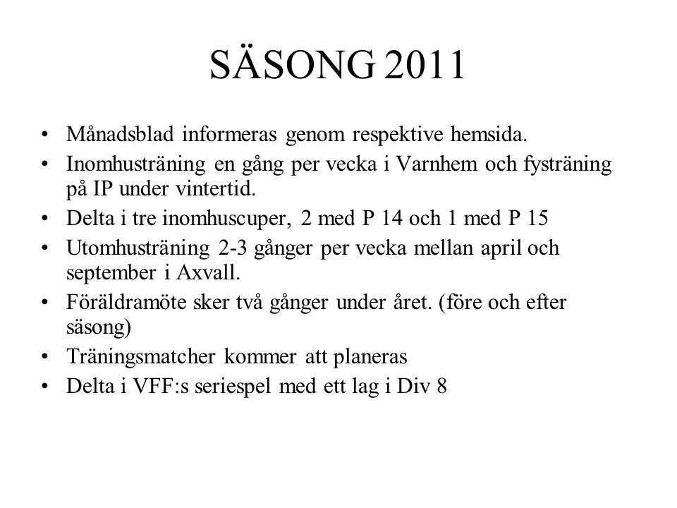 SÄSONG 2011 •Månadsblad informeras genom respektive hemsida. •Inomhusträning en gång per vecka i Varnhem och fysträning på IP under vintertid. •Delta
