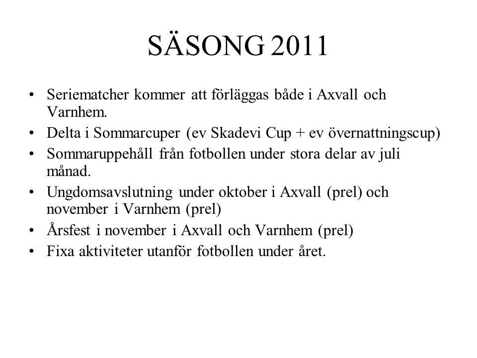 SÄSONG 2011 •Seriematcher kommer att förläggas både i Axvall och Varnhem. •Delta i Sommarcuper (ev Skadevi Cup + ev övernattningscup) •Sommaruppehåll