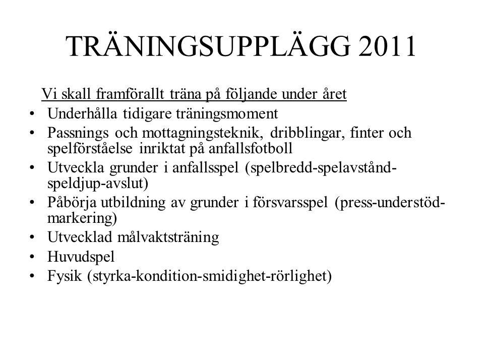 TRÄNINGSUPPLÄGG 2011 Vi skall framförallt träna på följande under året •Underhålla tidigare träningsmoment •Passnings och mottagningsteknik, dribbling