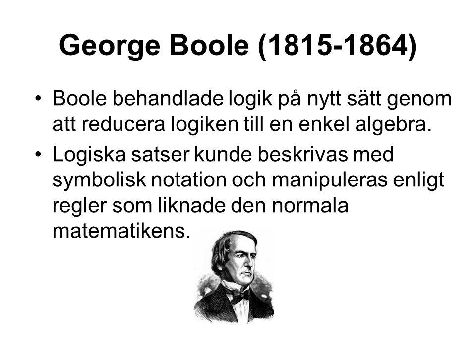 George Boole (1815-1864) •Boole behandlade logik på nytt sätt genom att reducera logiken till en enkel algebra. •Logiska satser kunde beskrivas med sy