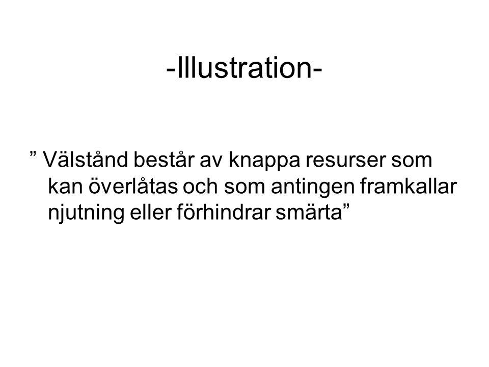 """-Illustration- """" Välstånd består av knappa resurser som kan överlåtas och som antingen framkallar njutning eller förhindrar smärta"""""""