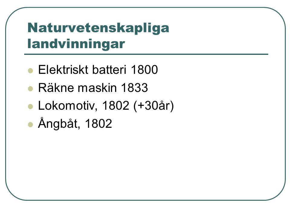 Naturvetenskapliga landvinningar  Elektriskt batteri 1800  Räkne maskin 1833  Lokomotiv, 1802 (+30år)  Ångbåt, 1802