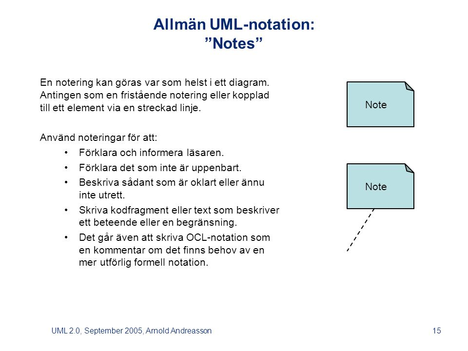 UML 2.0, September 2005, Arnold Andreasson15 Note Allmän UML-notation: Notes En notering kan göras var som helst i ett diagram.