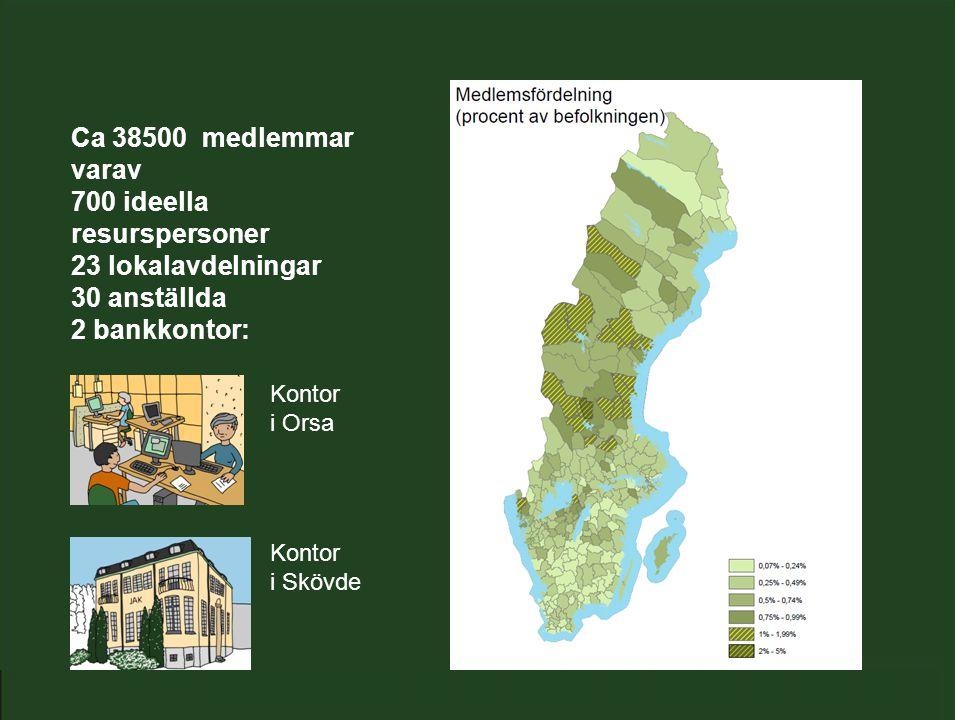 Ca 38500 medlemmar varav 700 ideella resurspersoner 23 lokalavdelningar 30 anställda 2 bankkontor: Kontor i Orsa Kontor i Skövde