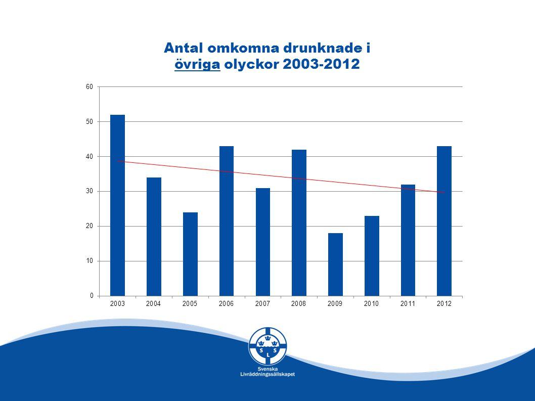 Antal omkomna drunknade i övriga olyckor 2003-2012