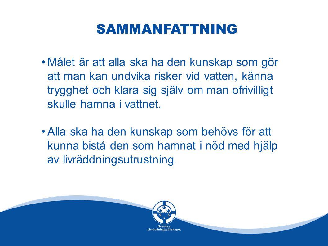 SAMMANFATTNING •Målet är att alla ska ha den kunskap som gör att man kan undvika risker vid vatten, känna trygghet och klara sig själv om man ofrivill