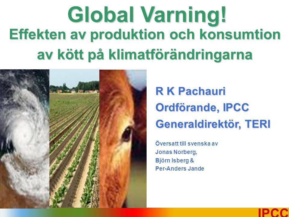 12 IPCC Boskapsuppfödningen svarar för 64 % av ammoniakutsläppen, som bidrar till surt regn.