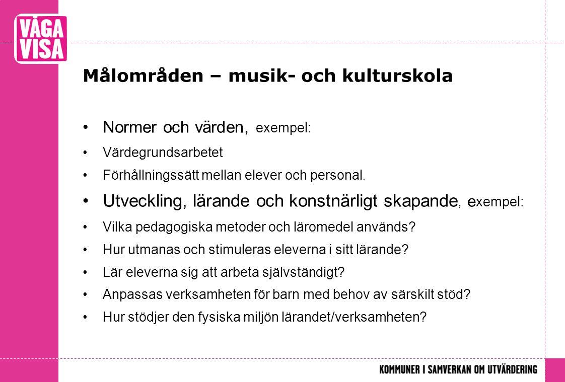 Målområden – musik- och kulturskola •Normer och värden, exempel: •Värdegrundsarbetet •Förhållningssätt mellan elever och personal. •Utveckling, lärand