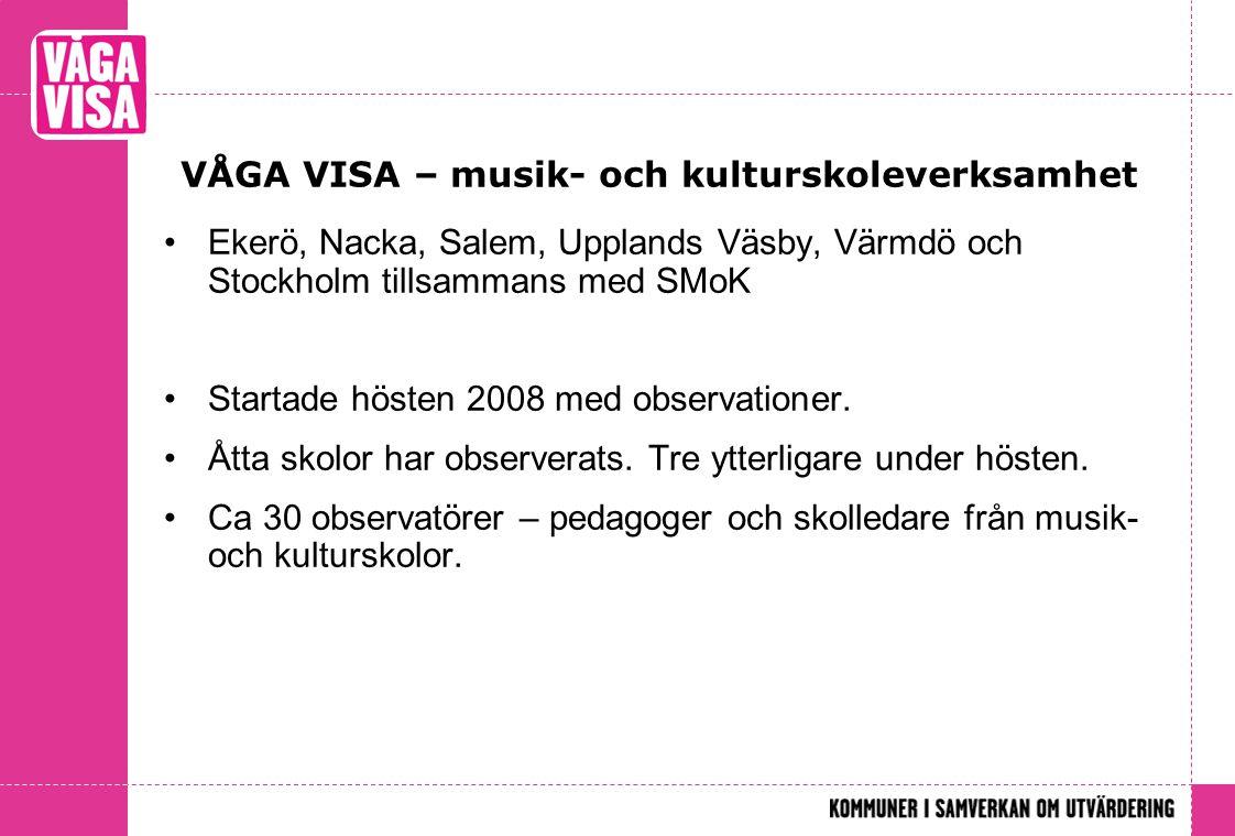 VÅGA VISA – musik- och kulturskoleverksamhet •Ekerö, Nacka, Salem, Upplands Väsby, Värmdö och Stockholm tillsammans med SMoK •Startade hösten 2008 med