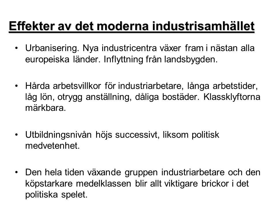 Effekter av det moderna industrisamhället •U•Urbanisering. Nya industricentra växer fram i nästan alla europeiska länder. Inflyttning från landsbygden