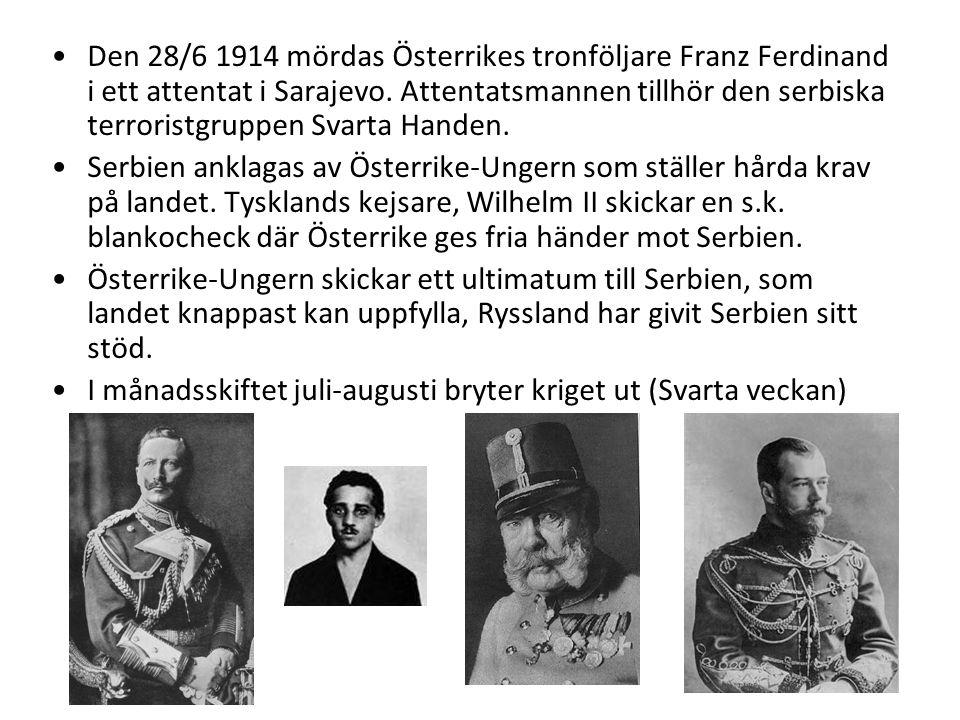 •D•Den 28/6 1914 mördas Österrikes tronföljare Franz Ferdinand i ett attentat i Sarajevo. Attentatsmannen tillhör den serbiska terroristgruppen Svarta