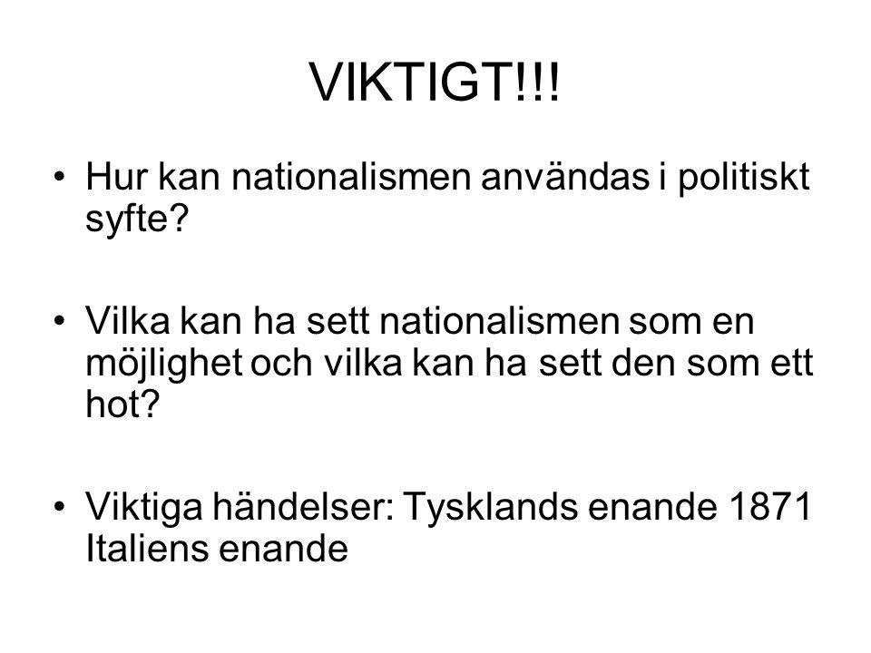 VIKTIGT!!! •Hur kan nationalismen användas i politiskt syfte? •Vilka kan ha sett nationalismen som en möjlighet och vilka kan ha sett den som ett hot?