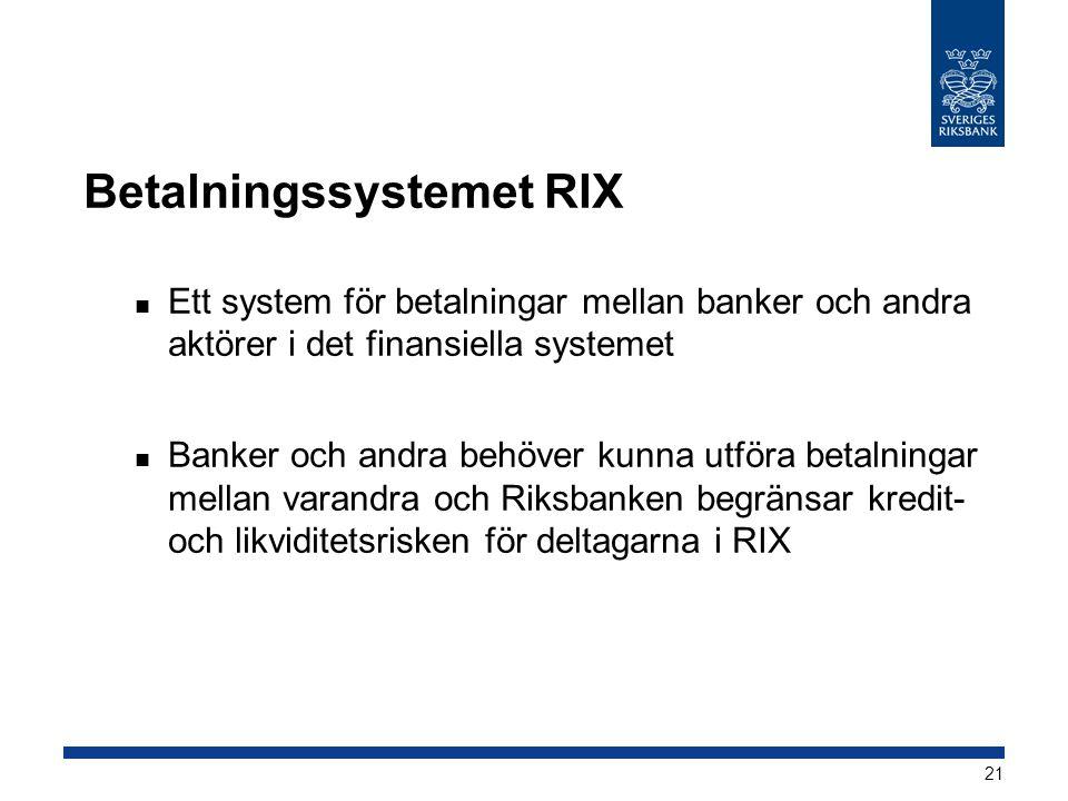 Betalningssystemet RIX  Ett system för betalningar mellan banker och andra aktörer i det finansiella systemet  Banker och andra behöver kunna utföra