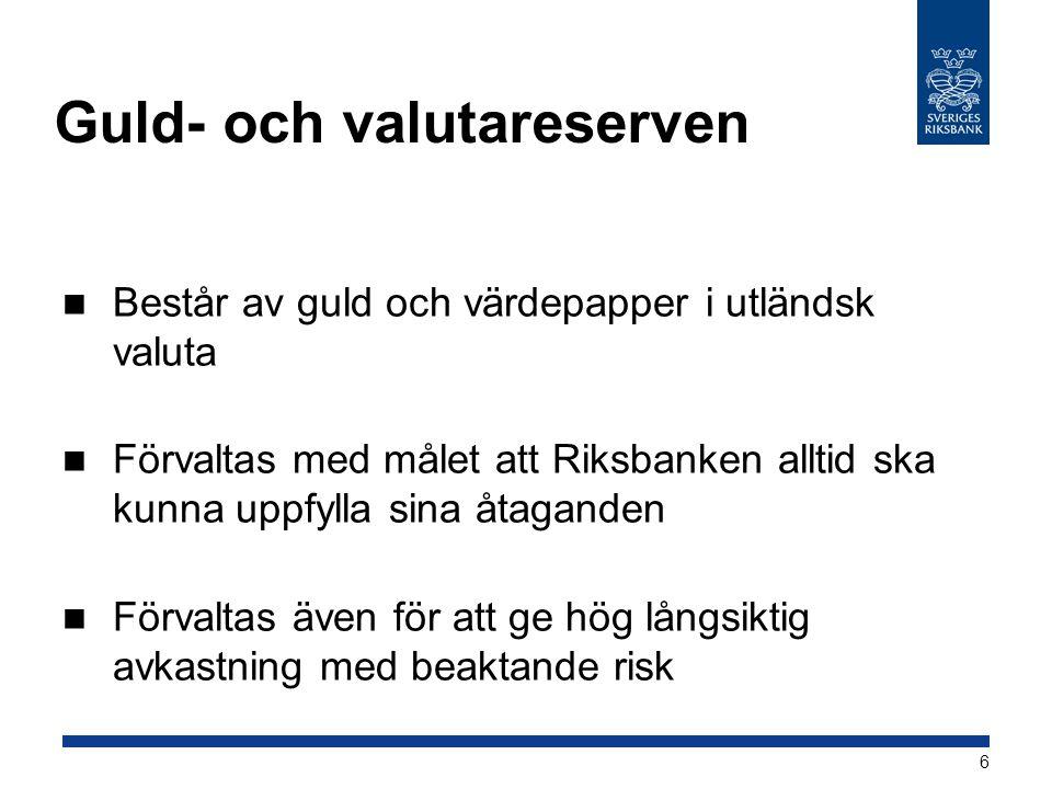 Guld- och valutareserven  Består av guld och värdepapper i utländsk valuta  Förvaltas med målet att Riksbanken alltid ska kunna uppfylla sina åtagan