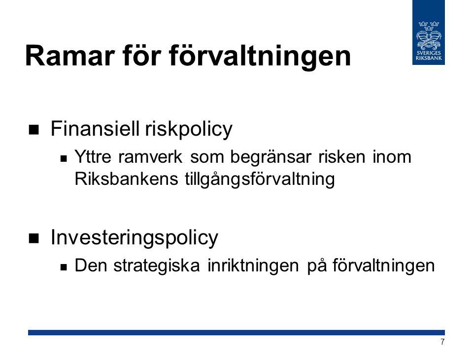 Ramar för förvaltningen  Finansiell riskpolicy  Yttre ramverk som begränsar risken inom Riksbankens tillgångsförvaltning  Investeringspolicy  Den